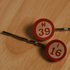 Bingo number bobby pins - Amy Jewelry