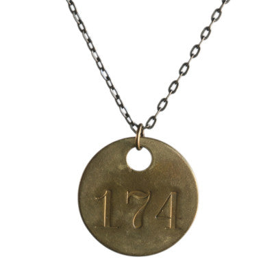 Vintage brass tag necklace - Amy Jewelry