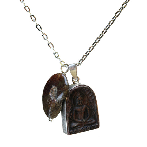 Buddha-ammonite necklace