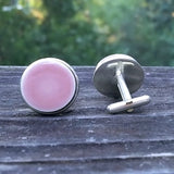 Pink ceramic tile silver-plated cuff links, front and back views