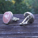 Pink ceramic tile silver-plated cuff links, 3/4 view