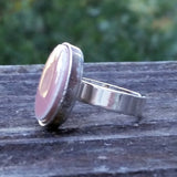 Pink ceramic tile silver-plated ring - Amy Jewelry  - 3