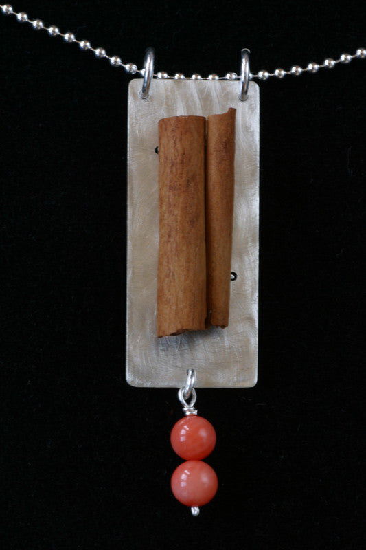 Cinnamon, coral and silver pendant - Amy Jewelry