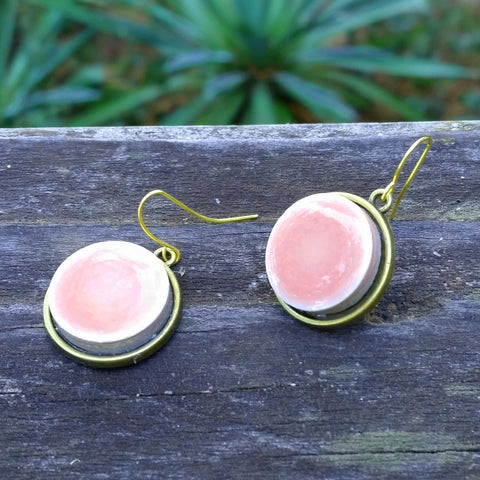 Pink ceramic tile brass earrings