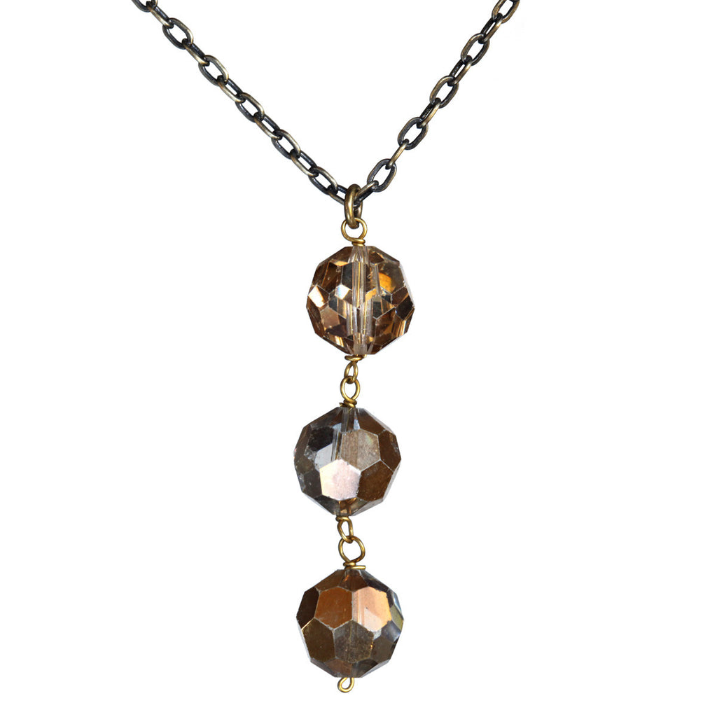 Salvaged metallic chandelier crystal triple pendant on brass chain - Amy Jewelry