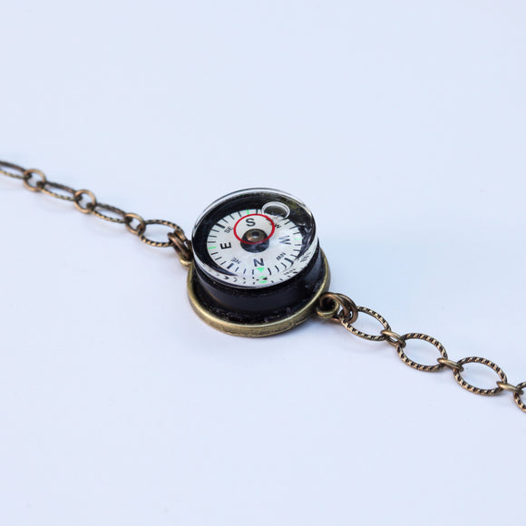 Compass level bracelet with brass chain - Amy Jewelry
