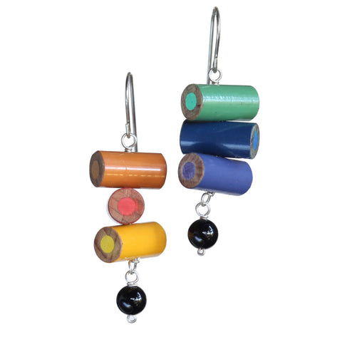 Colored pencil earrings with onyx beads