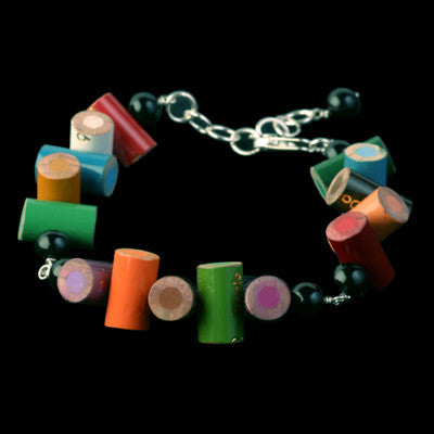 colored pencil bracelet with onyx beads - Amy Jewelry