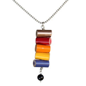 Colored pencil pendant with onyx bead - Amy Jewelry