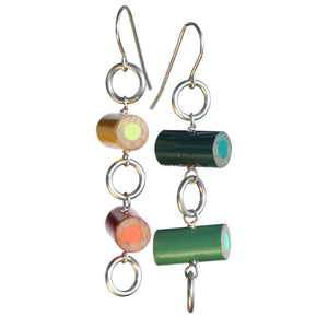 Colored pencil circle earrings - Amy Jewelry