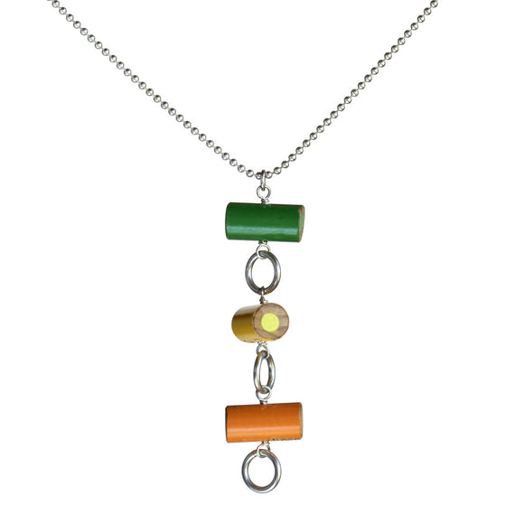 Colored pencil circle pendant on silver-plated chain - Amy Jewelry