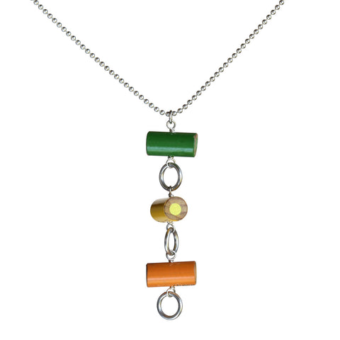 Colored pencil circle pendant on silver-plated chain