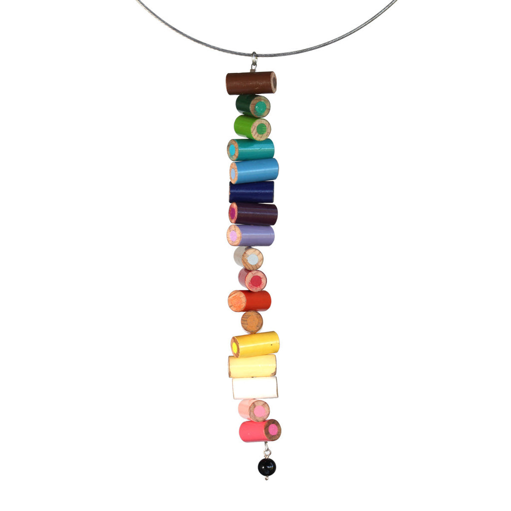 Colored pencil long pendant on steel cable - Amy Jewelry  - 2