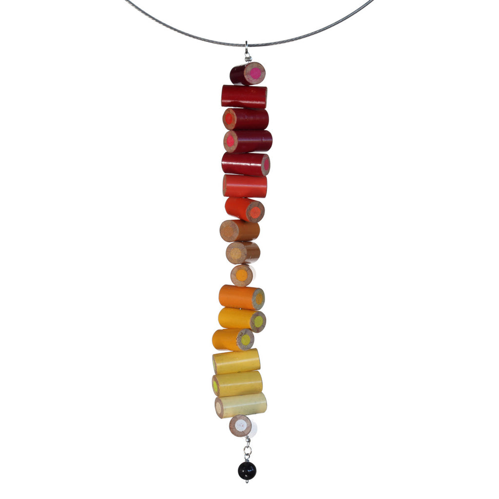 Colored pencil long pendant on steel cable - Amy Jewelry  - 3