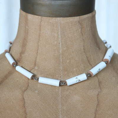 White wooden chopstick necklace and bracelet