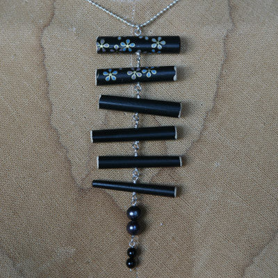 Black floral bamboo pendant with drop