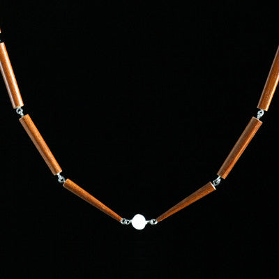 Double bamboo chopstick necklace with center pearl