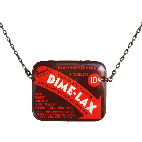Dime-Lax medicine-tin necklace