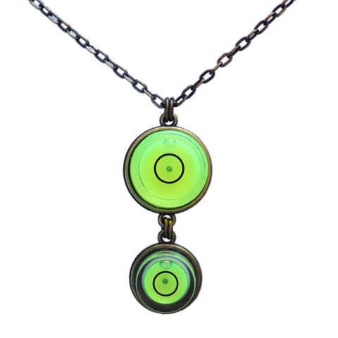 Double bullseye level necklace with brass chain