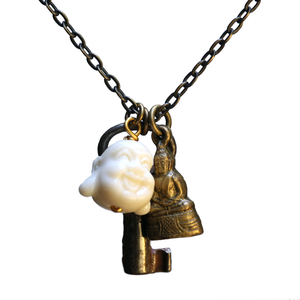 Double Buddha-key necklace - Amy Jewelry
