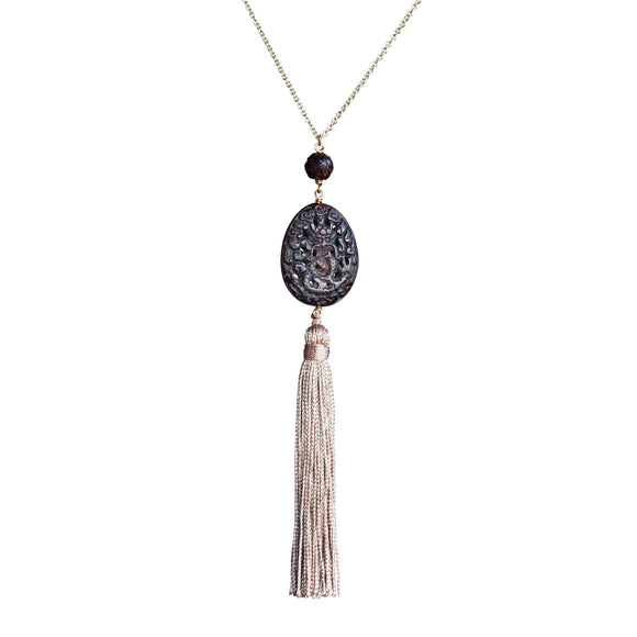Carved beads and vintage tassel pendant necklace - Amy Jewelry