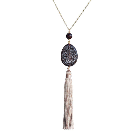 Carved beads and vintage tassel pendant necklace