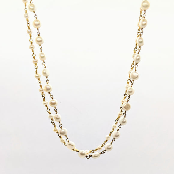 Double pearl rosary chain necklace