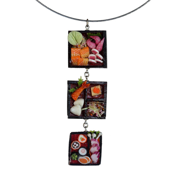 Triple dollhouse sushi pendant - Amy Jewelry