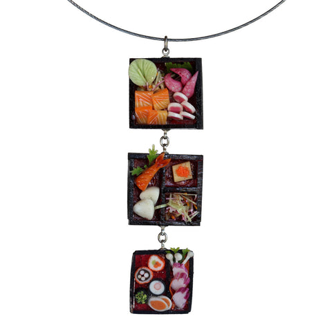 Triple dollhouse sushi pendant