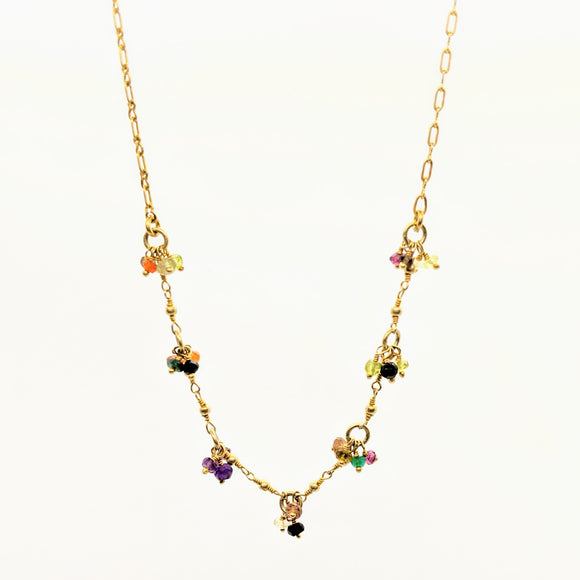 Faceted gemstone cluster necklace