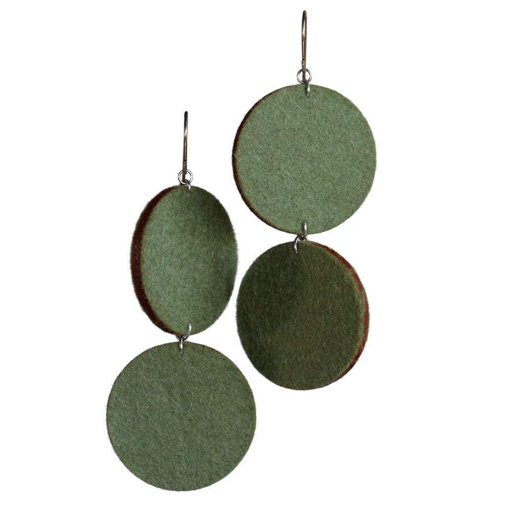 Wool felt large double-circle earrings - Amy Jewelry