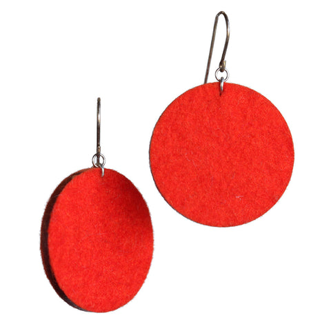 Wool felt large single-circle earrings