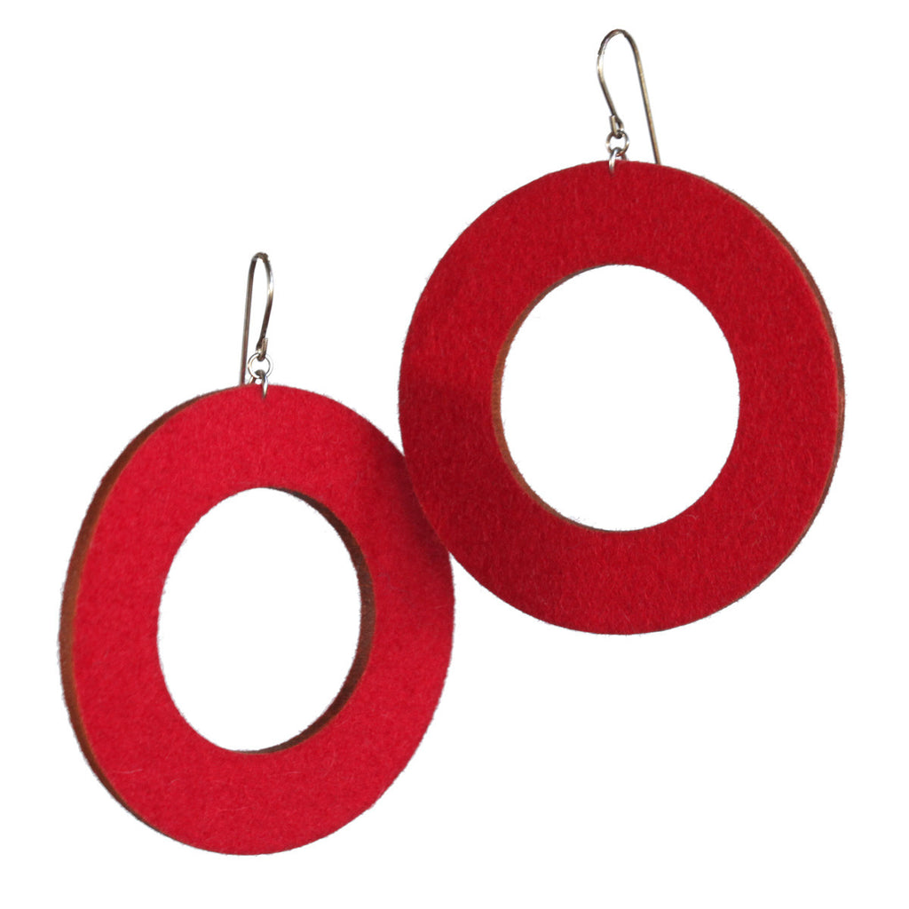 Wool felt large single-loop earrings - Amy Jewelry