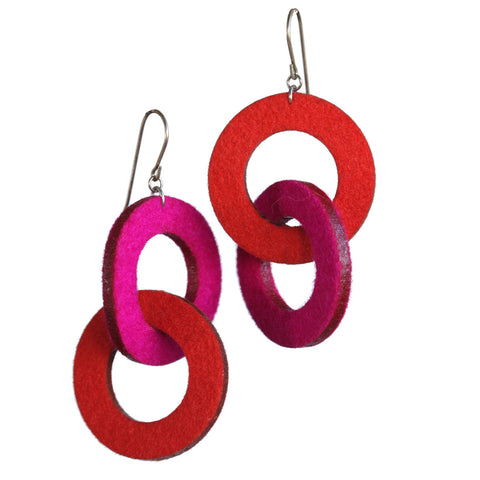 Wool felt double-loop earrings