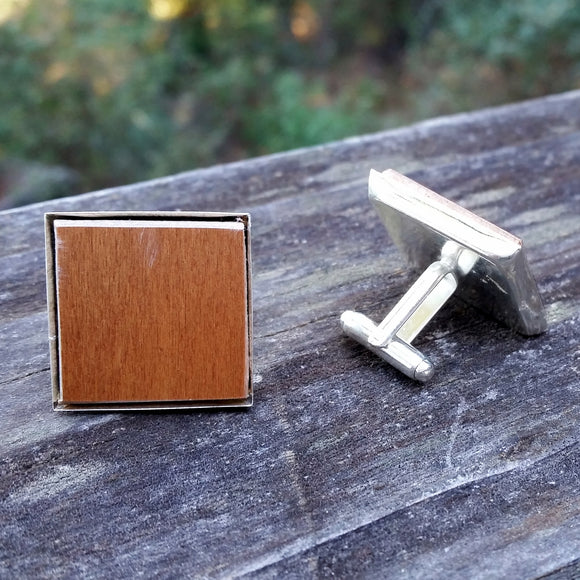 Wooden flooring sample silver-plated cuff links - Amy Jewelry
