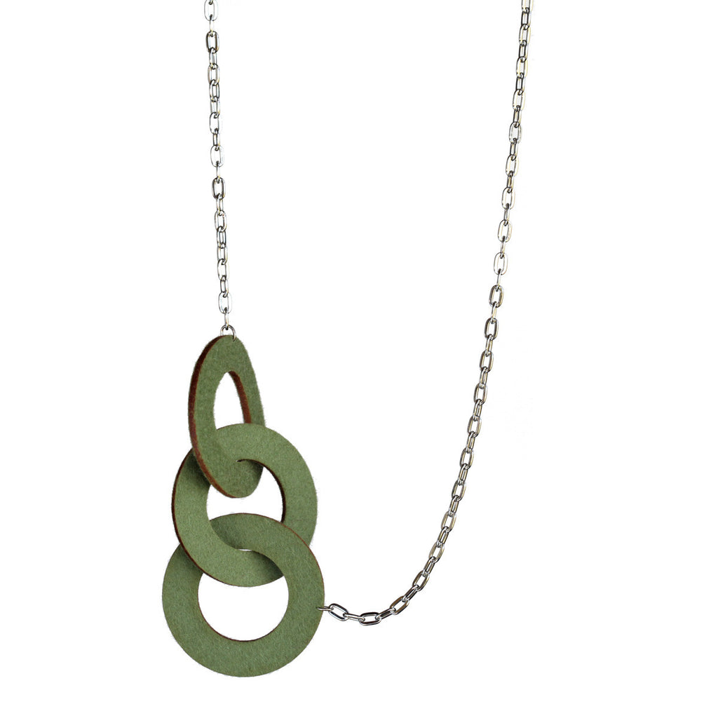 Wool felt long three-ring necklace - Amy Jewelry  - 1