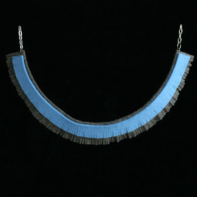Blue/brown fringe necklace - Amy Jewelry  - 1
