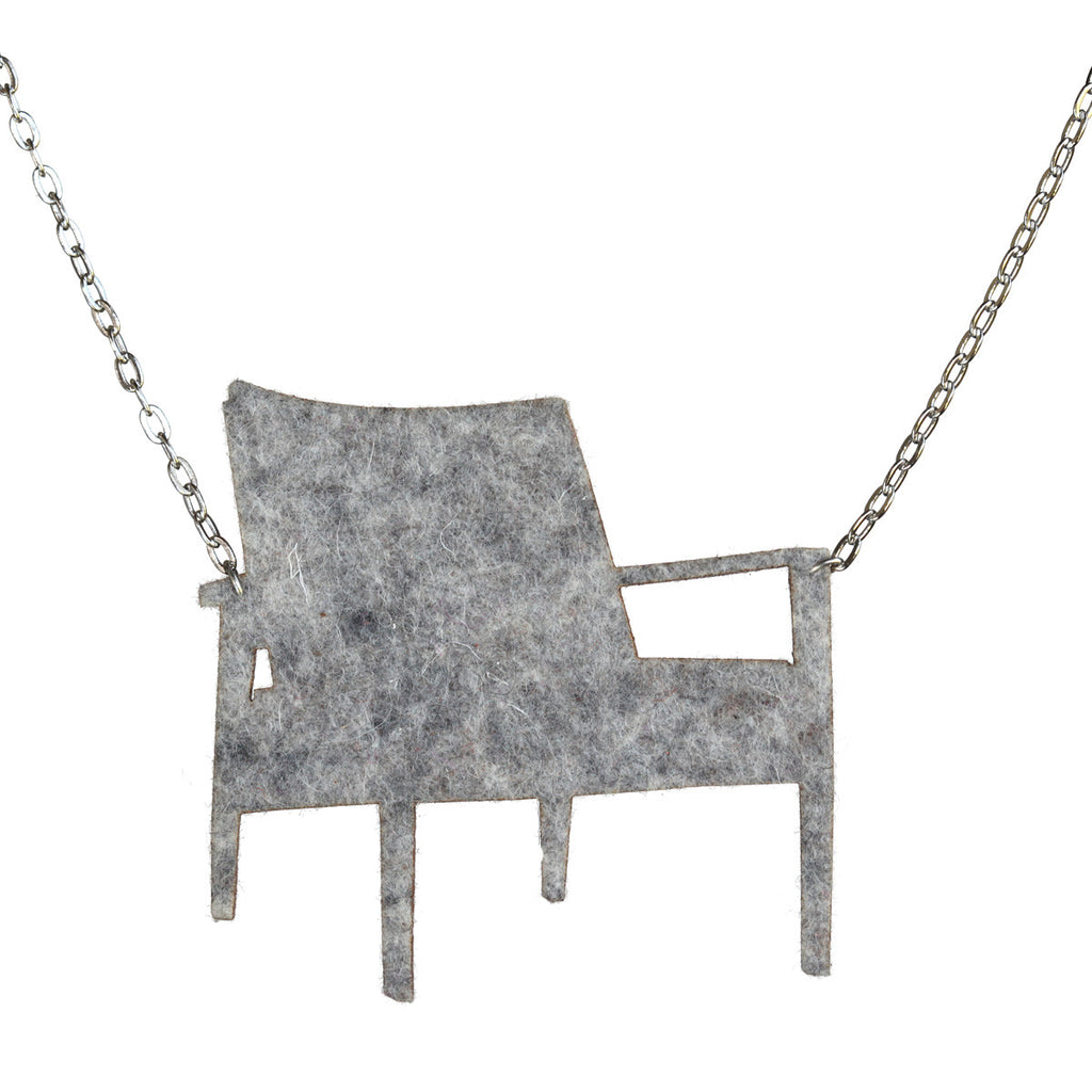 Wool felt mid-century armchair necklace - Amy Jewelry