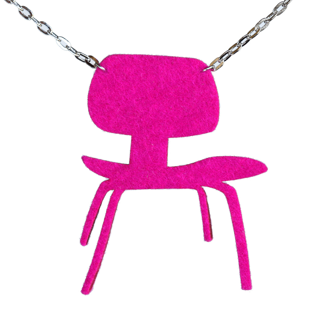 Wool felt Eames DCW chair necklace - Amy Jewelry