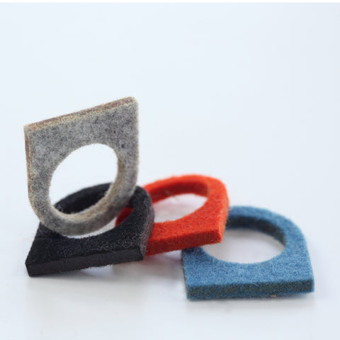 Wool felt flat-top ring