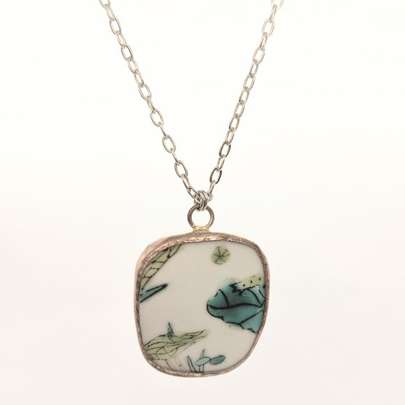 Frog and lilypad pottery necklace