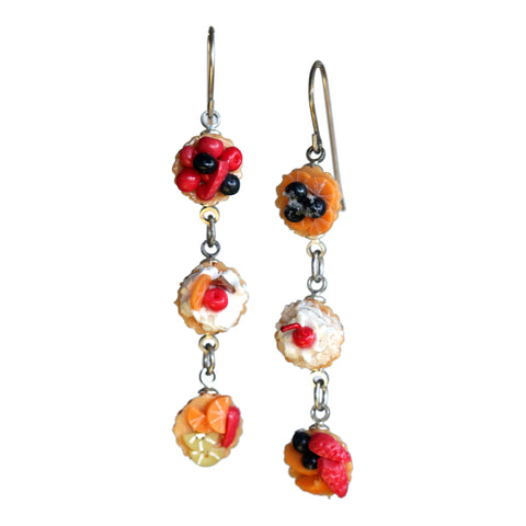 Fruit tart triple earrings