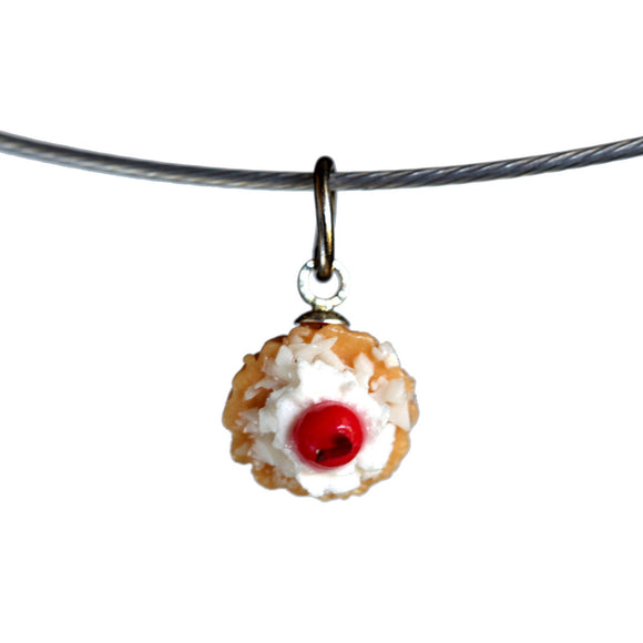 Fruit tart pendant on steel cable - Amy Jewelry