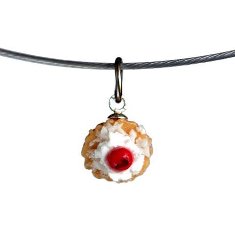 Fruit tart pendant on steel cable