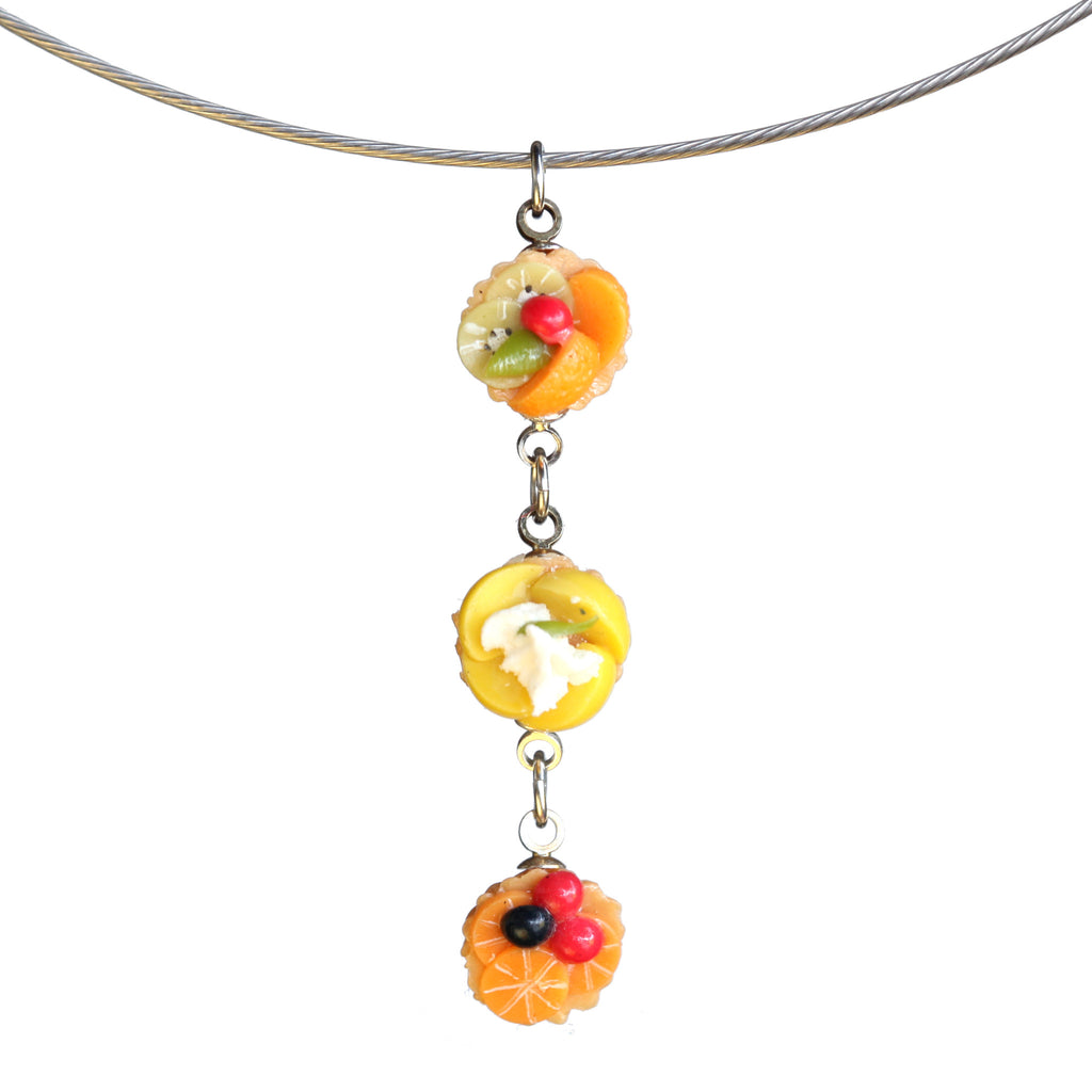 Triple fruit tart pendant on steel cable - Amy Jewelry