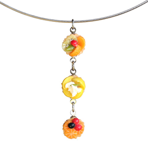 Triple fruit tart pendant on steel cable