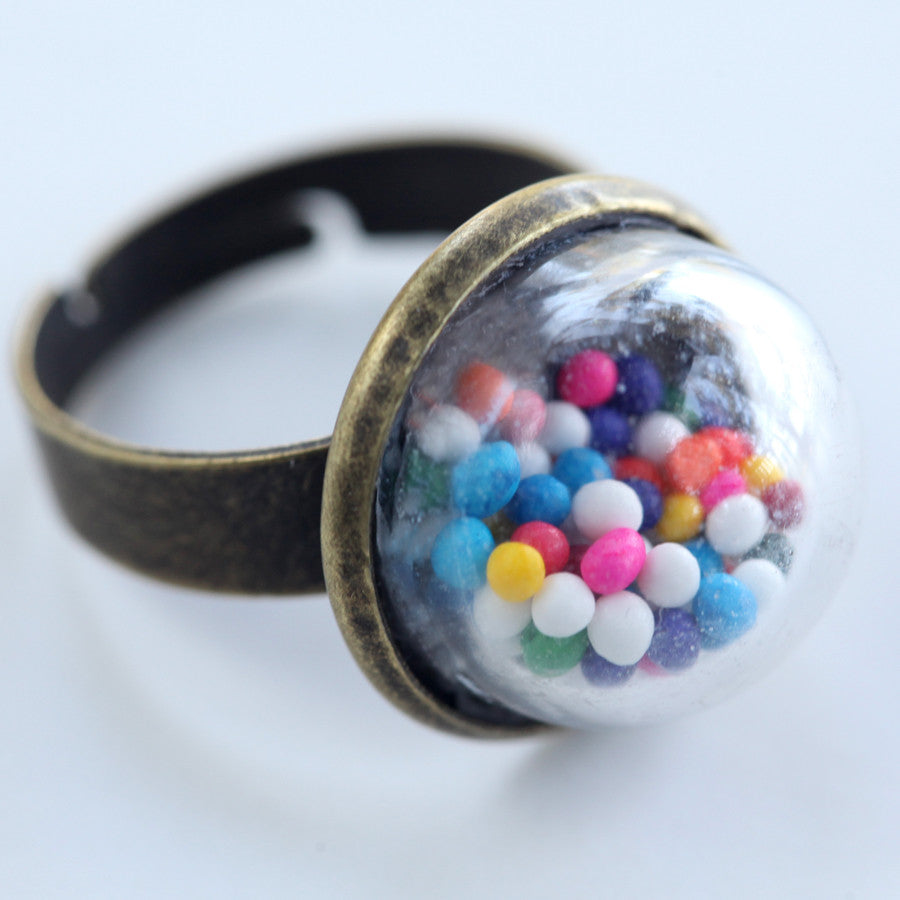 Small glass dome ring with cake sprinkles - Amy Jewelry  - 1