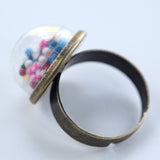 Small glass dome ring with cake sprinkles - Amy Jewelry  - 2