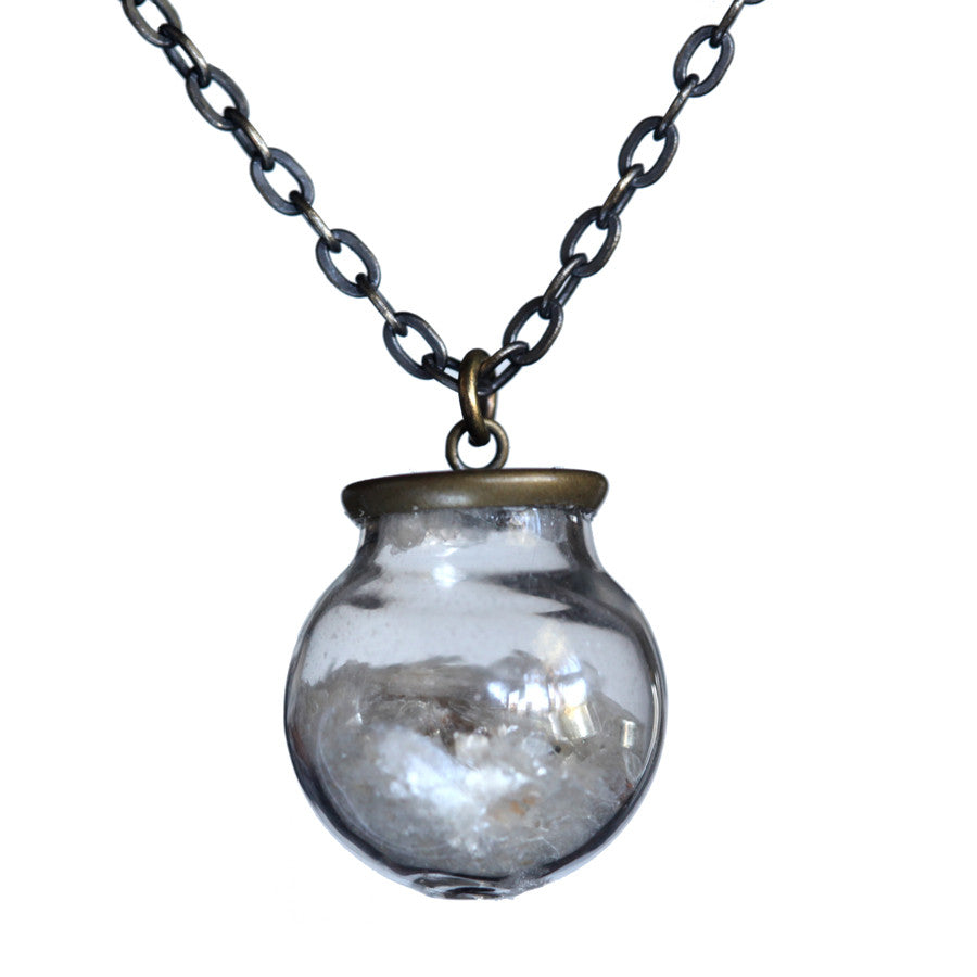 Small glass ball mica pendant - Amy Jewelry