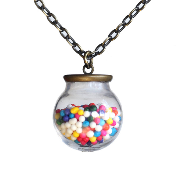 Small glass ball cake sprinkles pendant - Amy Jewelry